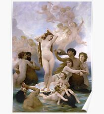 The Birth of Venus by  William-Adolphe Bouguereau Poster