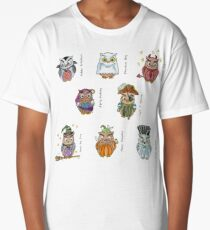 Costumed Halloween Owls (with names) Long T-Shirt