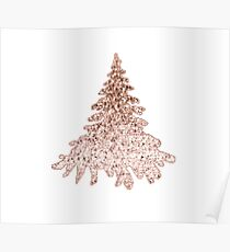 Sparkling christmas tree rose gold ombre Poster
