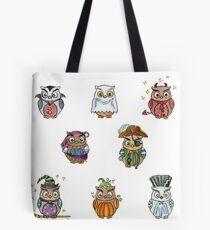 Costumed Halloween Owls  Tote Bag