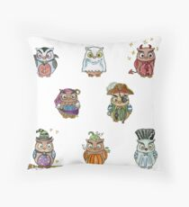 Costumed Halloween Owls  Throw Pillow