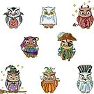 Costumed Halloween Owls  by Hajra Meeks