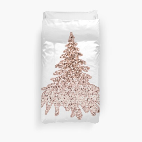 Sparkling christmas tree rose gold ombre Duvet Cover