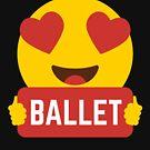 I love Dance Heart Eye Emoji Emoticon Funny Ballet Dancers Graphic Tee T shirt by DesIndie