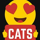 I love CATS Heart Eye Emoji Emoticon Funny CATS KITTENS KITTY players Graphic Tee T shirt by DesIndie