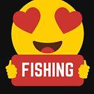 I love FISHING Heart Eye Emoji Emoticon Funny FISHING  SHIRT players Graphic Tee T shirt by DesIndie