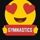 I love GYMNASTICS Heart Eye Emoji Emoticon Funny GYMNASTICS  SHIRT players Graphic Tee T shirt by DesIndie
