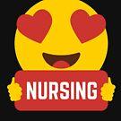 I love NURSING NURSES Heart Eye Emoji Emoticon Funny NURSES NURSING  SHIRT players Graphic Tee T shirt by DesIndie