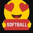 I love SOFTBALL Heart Eye Emoji Emoticon Funny SOFTBALL PLAYERS PERFORMANCE SHIRT players Graphic Tee T shirt by DesIndie
