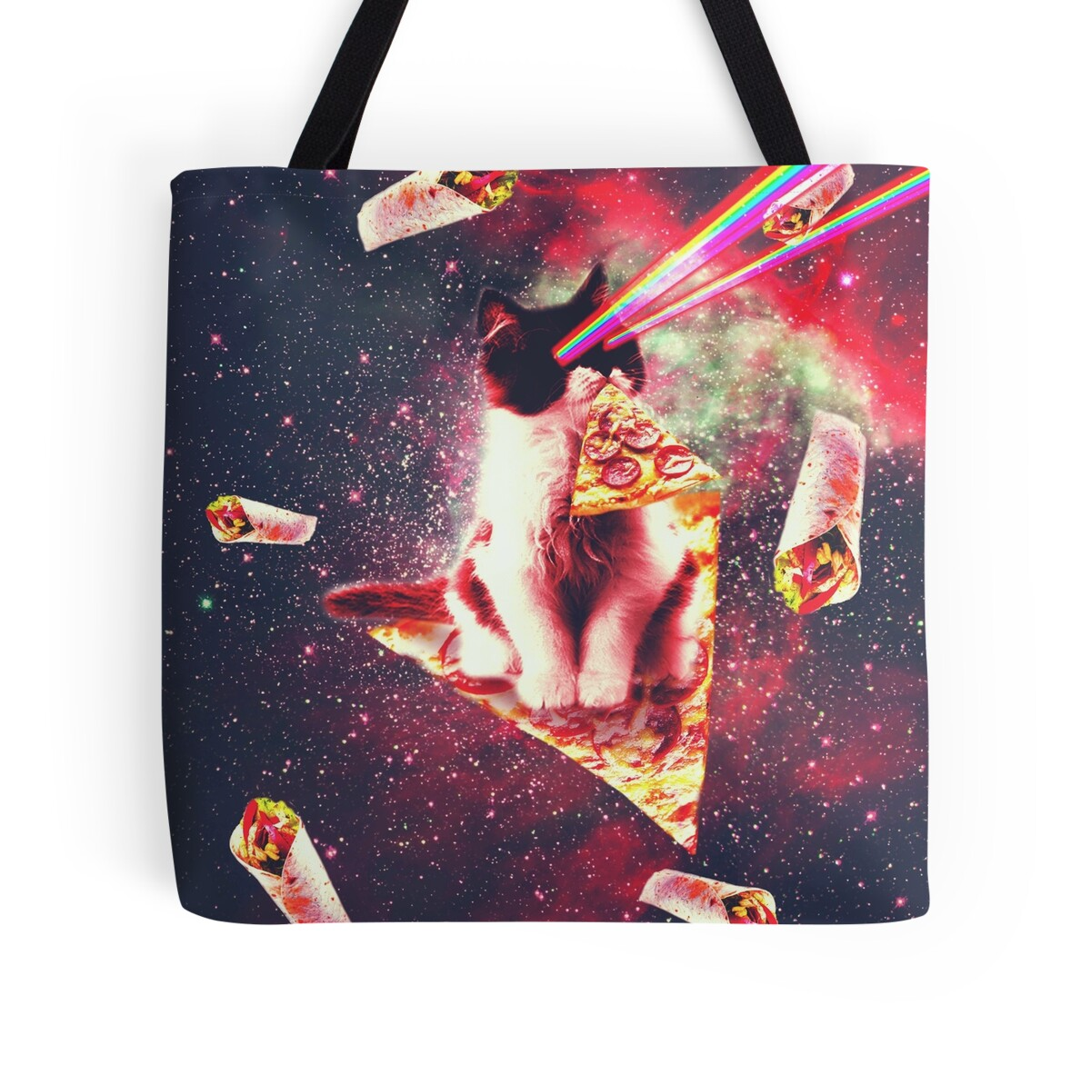 Space cat eating pizza rainbow laser eyes burrito for Space pizza fabric