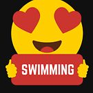 I love SWIMMING Heart Eye Emoji Emoticon Funny SWIMMING PLAYERS PERFORMANCE SHIRT players Graphic Tee T shirt by DesIndie