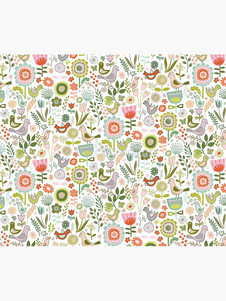 Birds and Blooms - Springtime - Pretty Floral Bird Pattern by Cecca Designs by Cecca-Designs