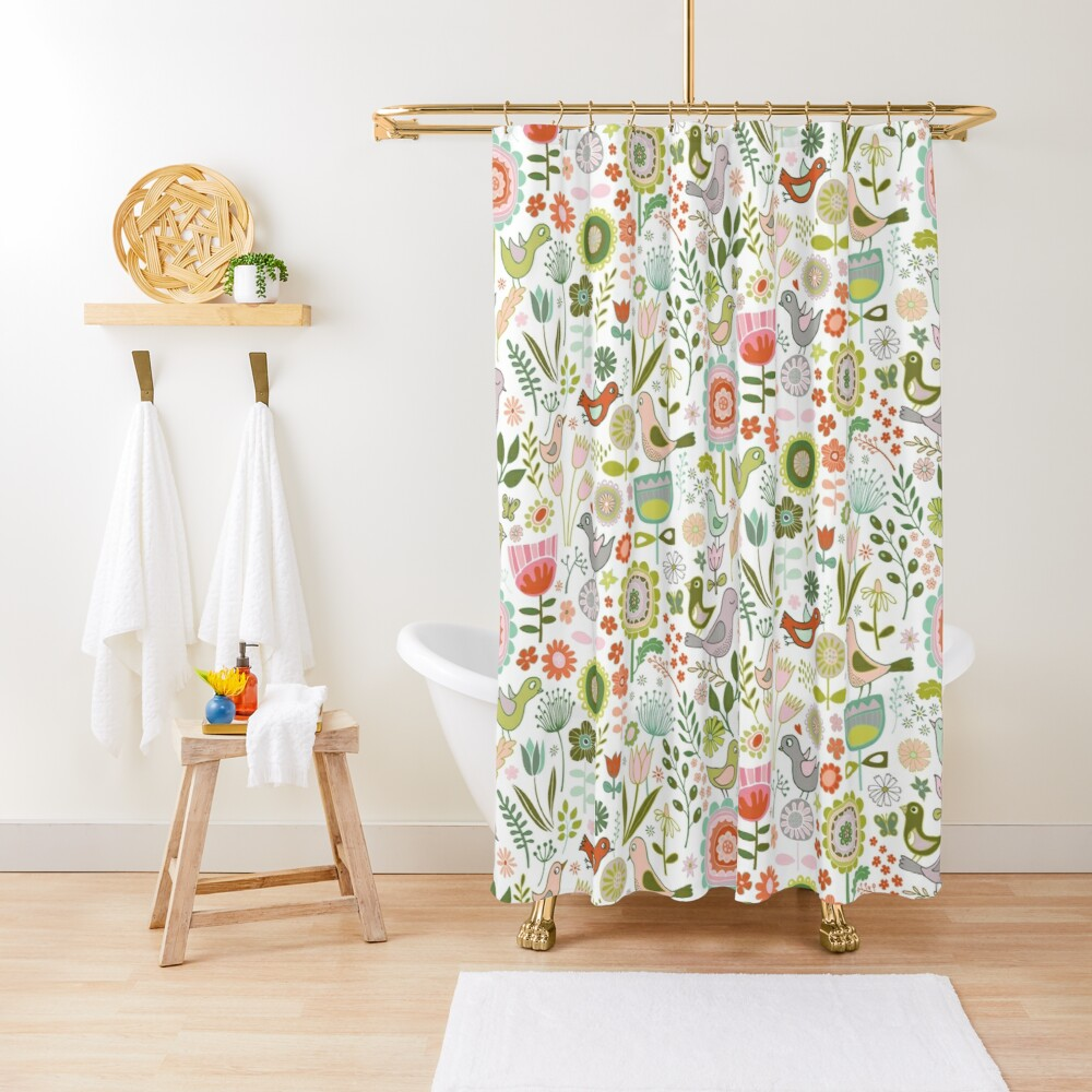 Birds and Blooms - Springtime - Pretty Floral Bird Pattern by Cecca Designs Shower Curtain
