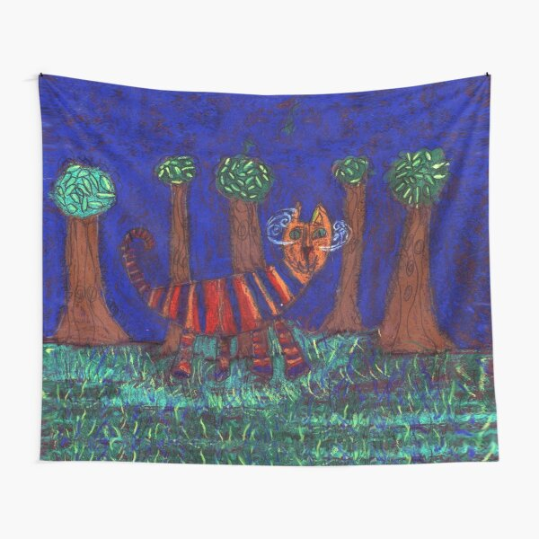 Cat Walking in the Grass by Kyle Bower Tapestry