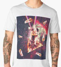 Space Cat Eating Pizza - Rainbow Laser Eyes, Burrito  Men's Premium T-Shirt