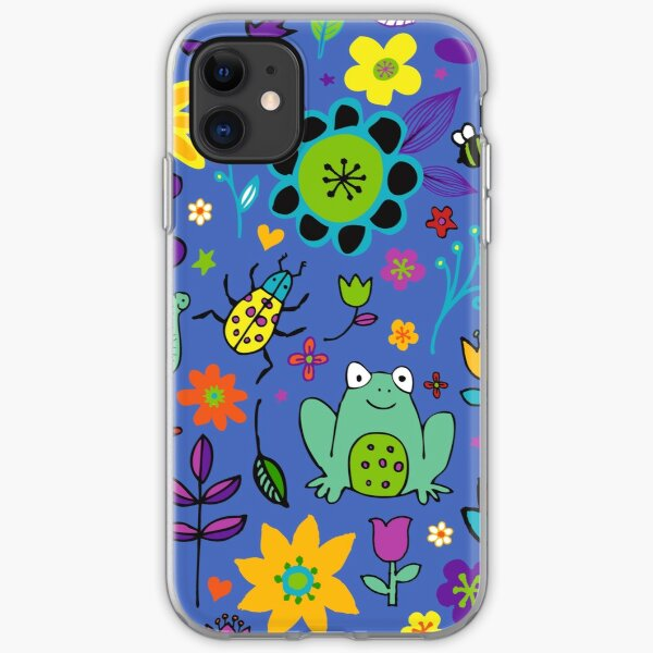 Ducks and Frogs in the Garden - Blue - fun floral pattern by Cecca Designs iPhone Soft Case