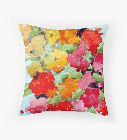 Colourful Spring garden Throw Pillow