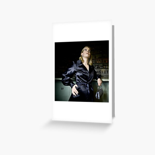 Bridget in Black Satin Evening Jacket Greeting Card