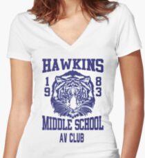 Hawkins Middle School AV Club Women's Fitted V-Neck T-Shirt
