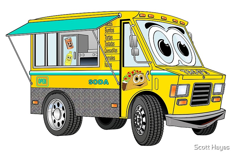 Cartoon Gold Taco Truck By Graphxpro