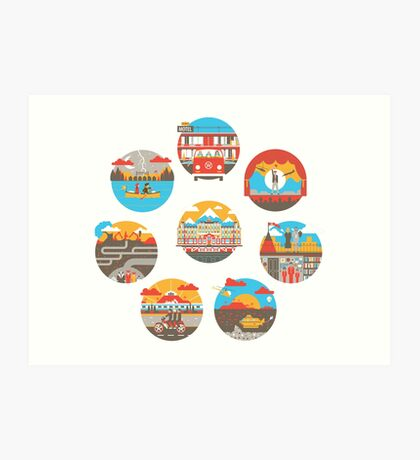 Wes Anderson Films Icon Illustrations Art Print