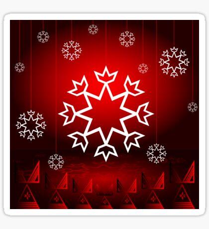 Red Xmas Snowflake design Sticker