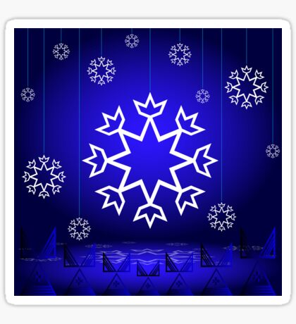 Native American Xmas snowflake on blue background tipi Sticker