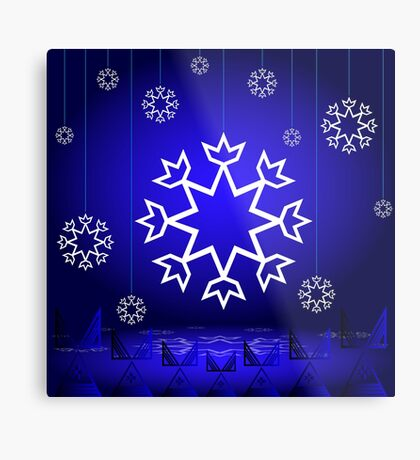 Native American Xmas snowflake on blue background tipi Metal Print