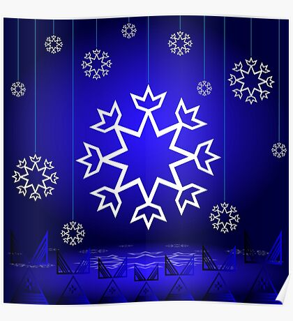 Native American Xmas snowflake on blue background tipi Poster