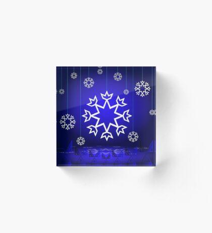 Native American Xmas snowflake on blue background tipi Acrylic Block
