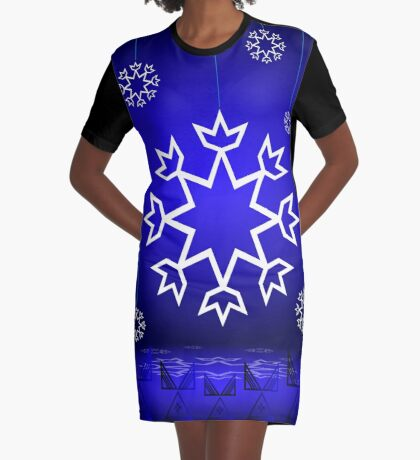 Native American Xmas snowflake on blue background tipi Graphic T-Shirt Dress