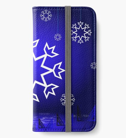 Native American Xmas snowflake on blue background tipi iPhone Wallet