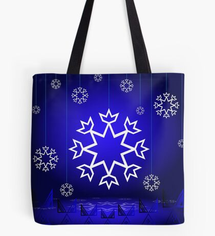 Native American Xmas snowflake on blue background tipi Tote Bag