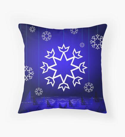 Native American Xmas snowflake on blue background tipi Throw Pillow