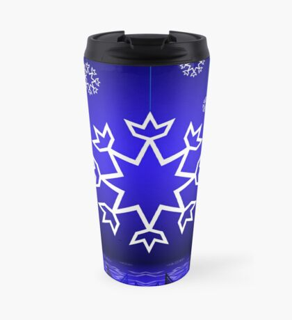 Native American Xmas snowflake on blue background tipi Travel Mug