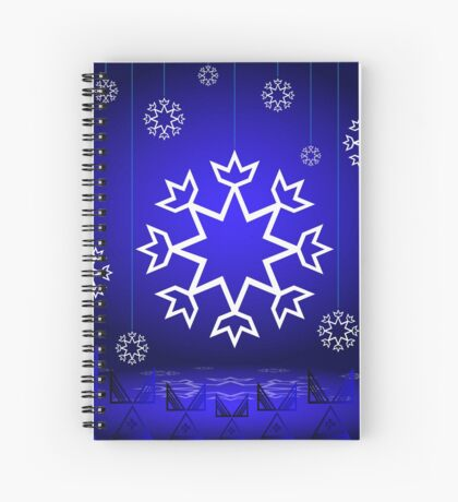 Native American Xmas snowflake on blue background tipi Spiral Notebook