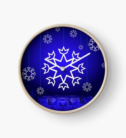 Native American Xmas snowflake on blue background tipi Clock