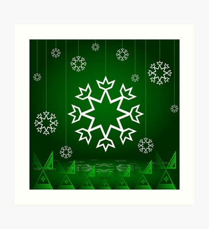Green Xmas Snowflake with Tipi Art Print