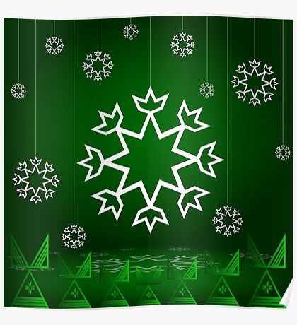 Green Xmas Snowflake with Tipi Poster