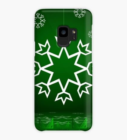 Green Xmas Snowflake with Tipi Case/Skin for Samsung Galaxy
