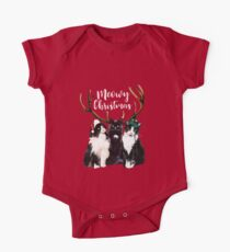 Cat Christmas. Meowy Christmas. Watercolor Cats One Piece - Short Sleeve