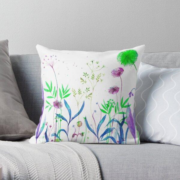 Flowerbed purple Throw Pillow