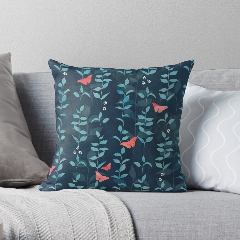 Midnight garden Throw Pillow