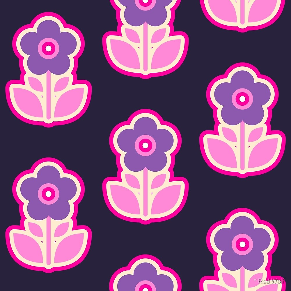 Geometric Pattern: Five Petal Flower: Purple by * Red Wolf