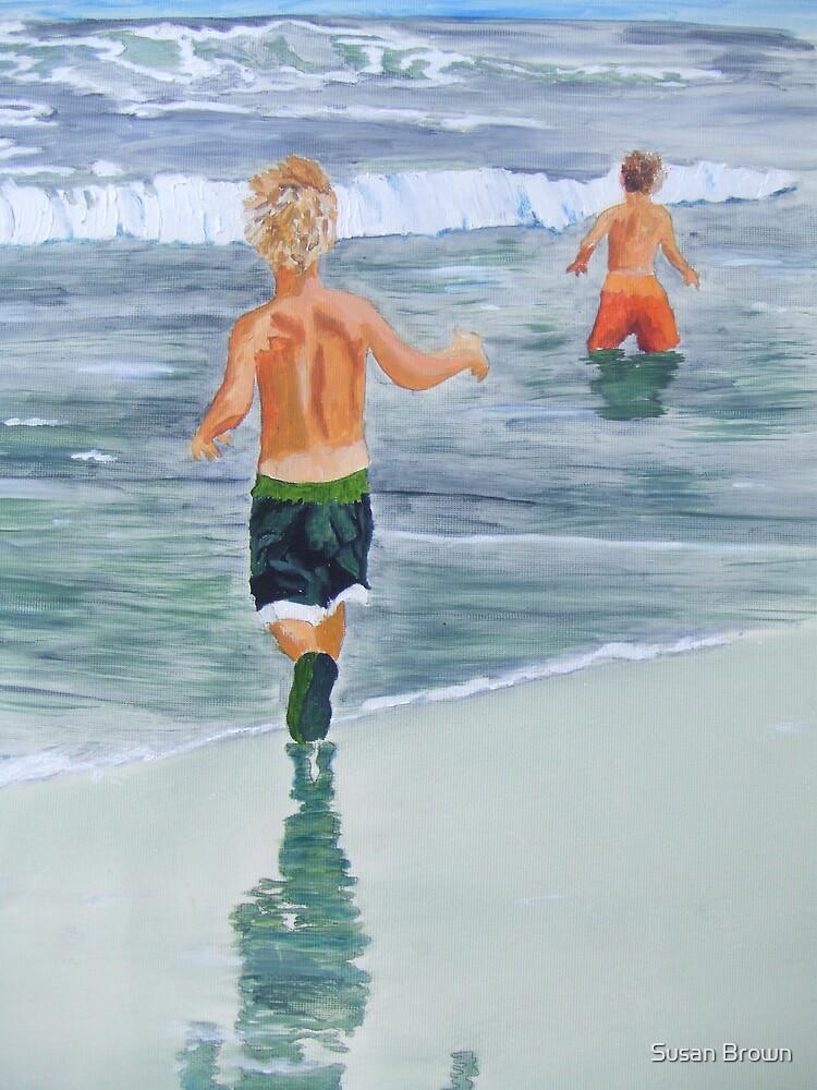 Two beach boys by Susan Brown