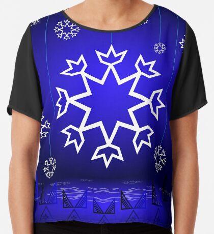 Native American Xmas snowflake on blue background tipi Women's Chiffon Top