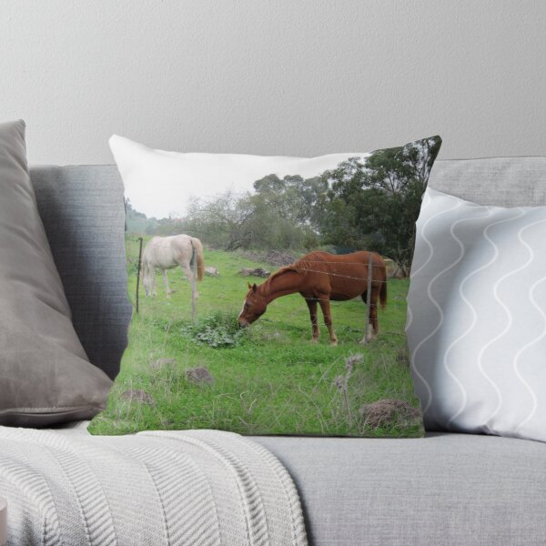 Horses in forest Throw Pillow