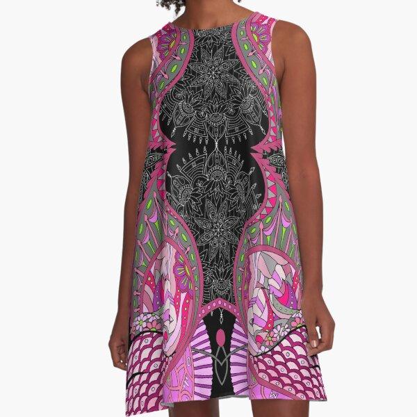 Wingish pattern pink shades for black bg A-Line Dress