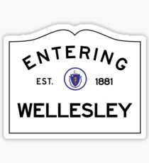 Entering Wellesley - Commonwealth of Massachusetts Road Sign Sticker