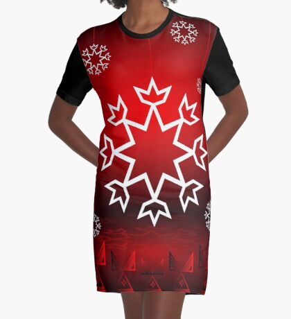 Red Xmas Snowflake design Graphic T-Shirt Dress
